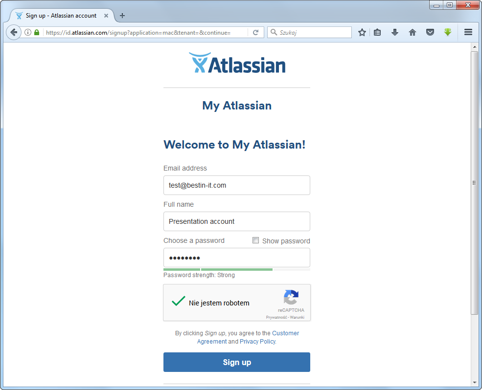 Typing details to create an ccount in atlassian
