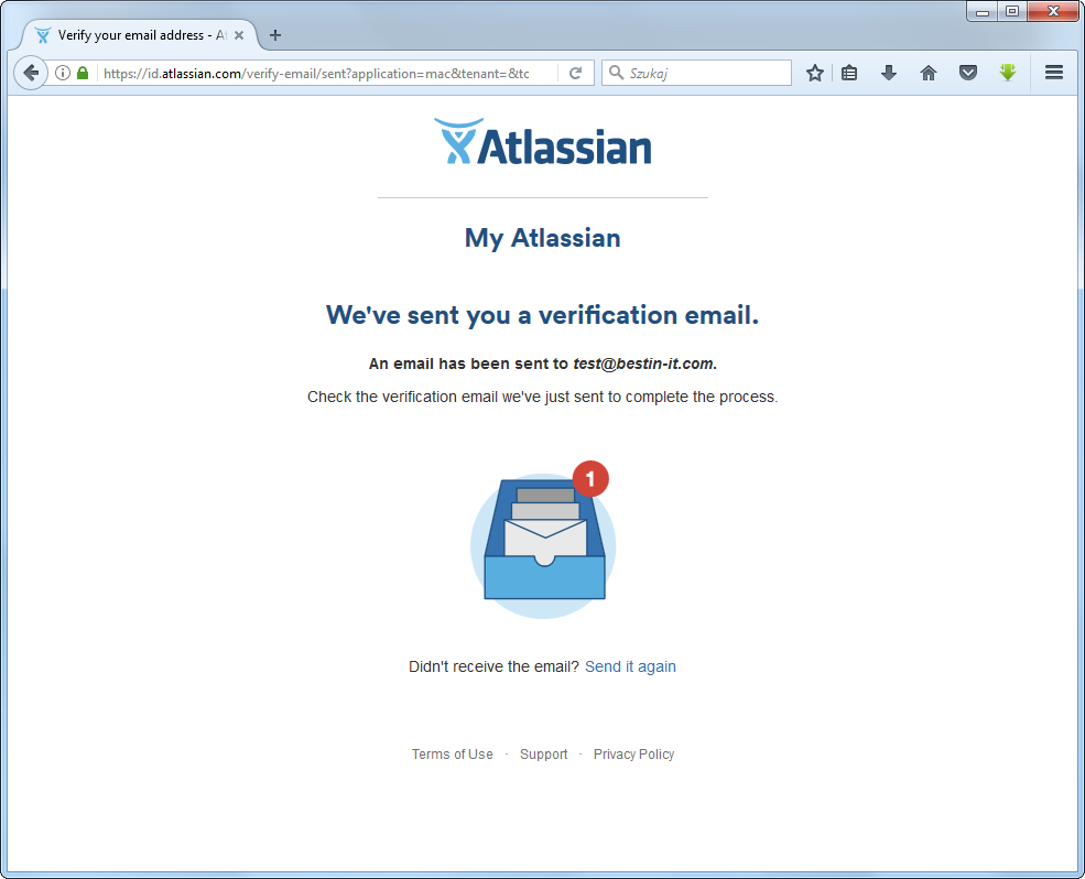 Creating an ccount in atlassian - confirmation email sent to the user