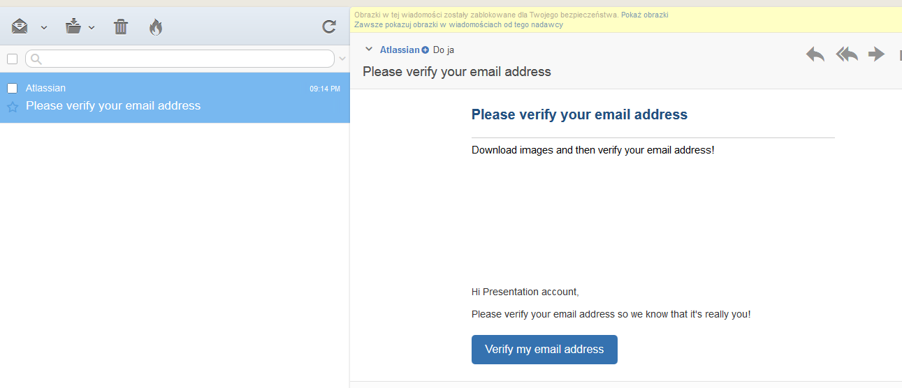 Example email from atlassian to activate new account