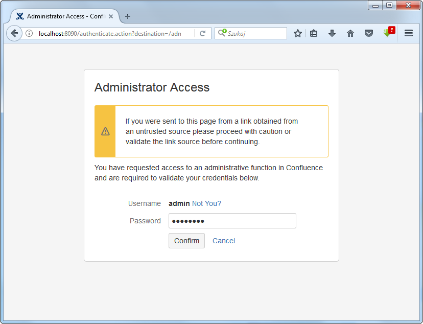 Administrator Access window to get administrator privileges