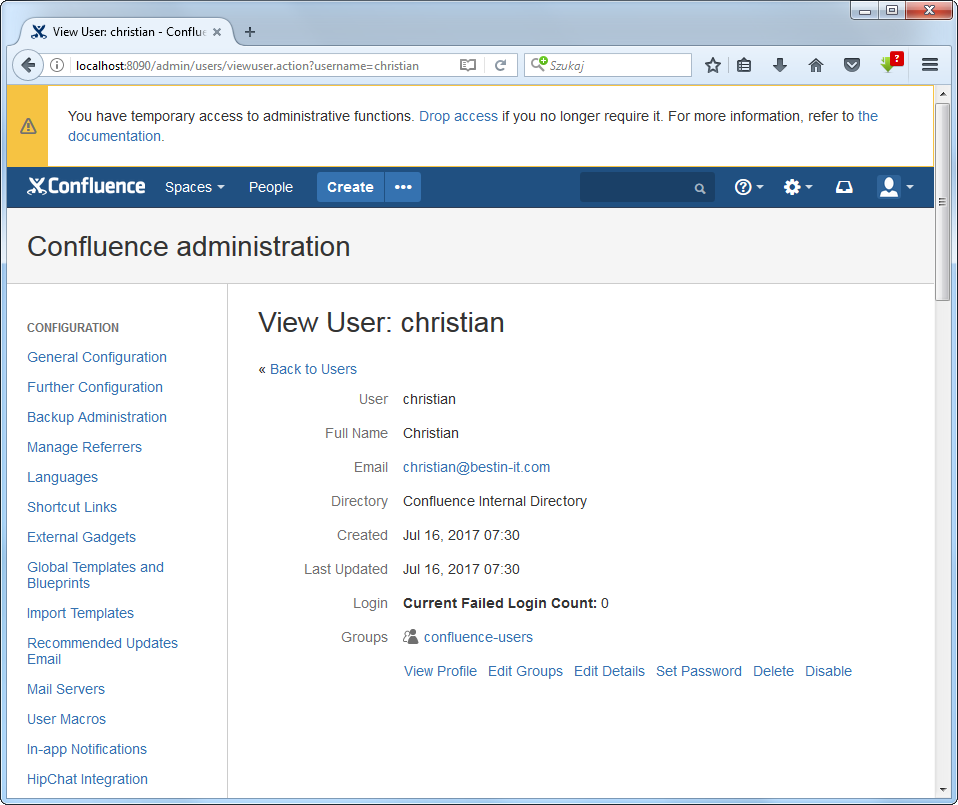 Details of newly created user in Confluence