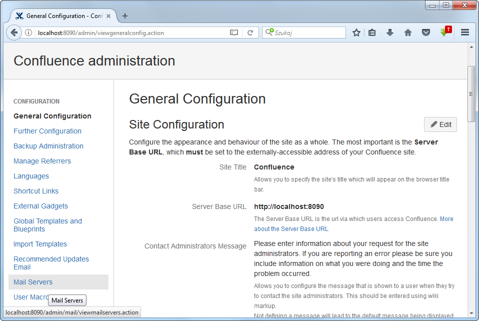 Site Configuration in Confluence