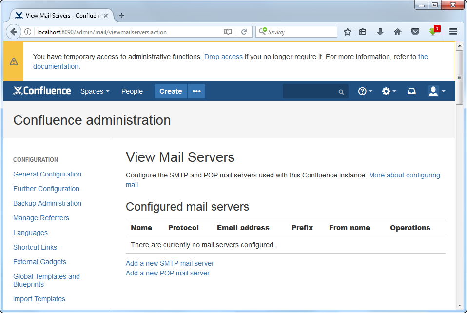 View Mail Servers in Confluence