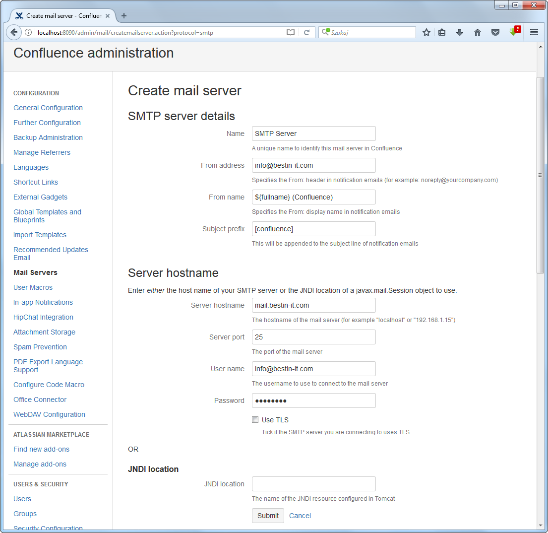 Configuring emails in Confluence - adding new SMTP mail
