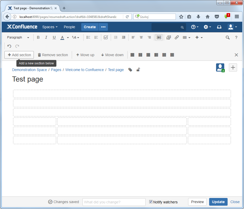 Editing Page In Confluence Page Layout